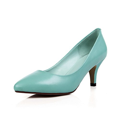 AmoonyFashion Womens Pointed-Toe Closed-Toe Kitten-Heels Pumps-Shoes with Winkle Pinker Blue 7QmKT