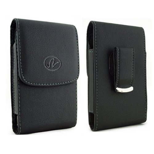 For BlackBerry Pearl Flip 8220 Kickstart, Pearl 8220 XL Vertical Leather Belt Clip Swivel Pouch Case (fits the Phone + Mophie Juice Pack/ Extended Battery (this case will to big if you want fit with phone itself) (Leather 8220 Holsters Swivel)