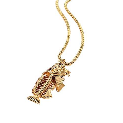 JERY Charm Men's Long Chain Fish Bone Necklace Pendant Titanium Steel Stainless Steel Fishing Hippie Necklace Jewelry (Star Stainless Steel Pendant)