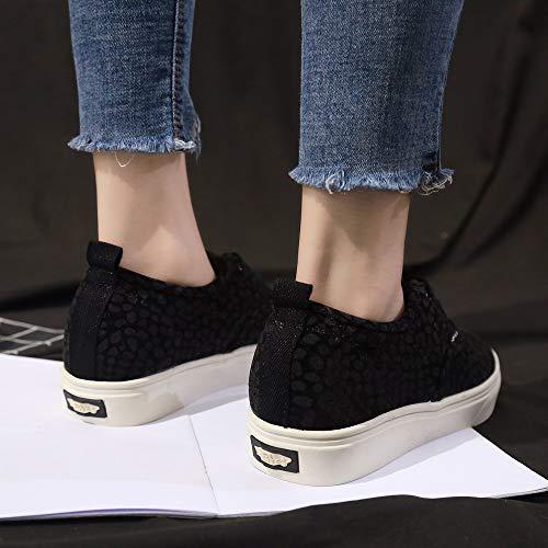 Cinnamou Noir Sneakers De Lopard Baskets Casual Pour Imprim Lgres Fond Chaussures Femmes En Toile Plat Sport wwqTSF