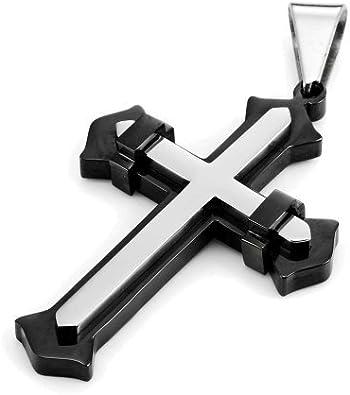 Superbe PENDENTIF Pour Homme CROIX design en acier