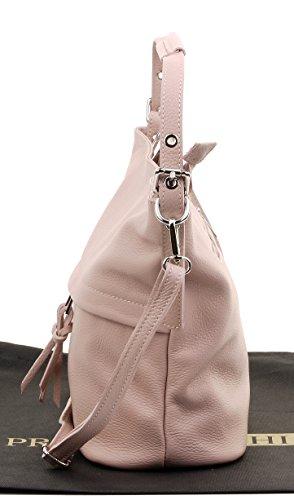 sac à Rose bandoulière comprend rangement Sac rose de de manipulé italien un main marque large Long Sacchi® de cuir protection tendre Primo qpz61z