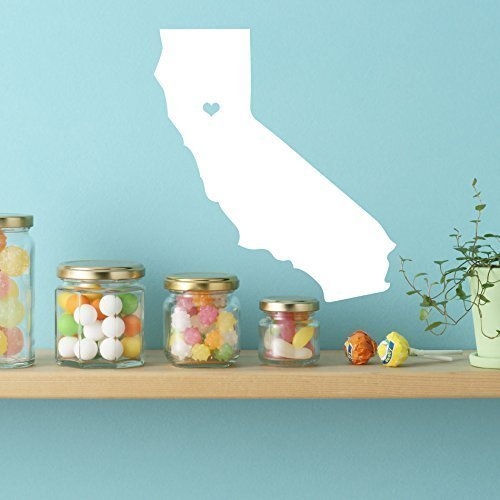 - California State Decal with Heart - Vinyl Art Decor for Home, Bedroom or Living Room Decoration