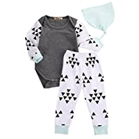 3pcs Newborn Infant Kids Baby Boy Girl Clothes Tops Romper+Pants+Hat Outfits ...