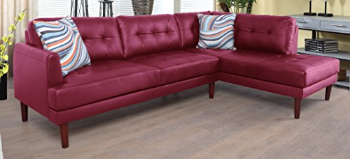 Beverly Fine Furniture SH6006B Emeral Right Facing Faux Leather Sectional Sofa, Red For Sale