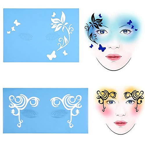 Face Paint Stencils - 7 styles/set Reusable Face and Body Painting Template Flower Butterfly Facial Design for Parties Christmas Halloween ()