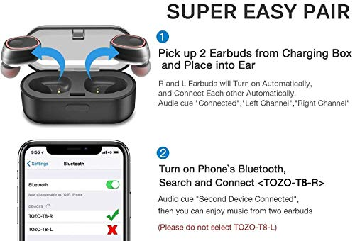 06c6c638601e60 TOZO T8 True Wireless Stereo Headphones TWS Bluetooth In-Ear Earbuds with Charging  Case Built-in Mic Headset. Premium Sound with Bass for Running Sport ...