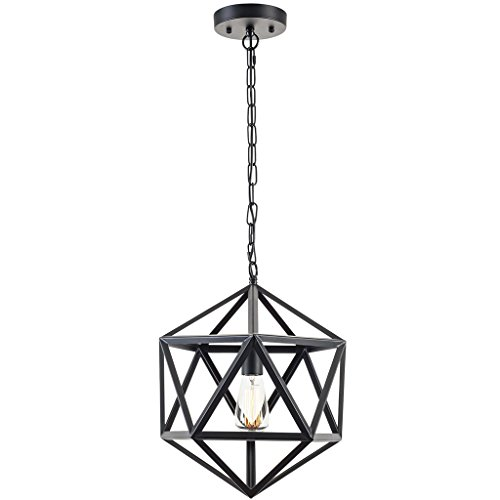 Light Society Geodesic Pendant Light, Matte Black, Geometric Vintage Modern Industrial Lighting Fixture (LS-C110) (Breakfast Room Lighting)