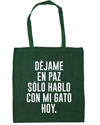 HippoWarehouse DÉJAME EN PAZ SOLO HABLO CON MI GATO HOY Bolso de Playa Bolsa Compra Con Asas para gimnasio 42cm x 38cm 10 litros capacidad Verde Botella