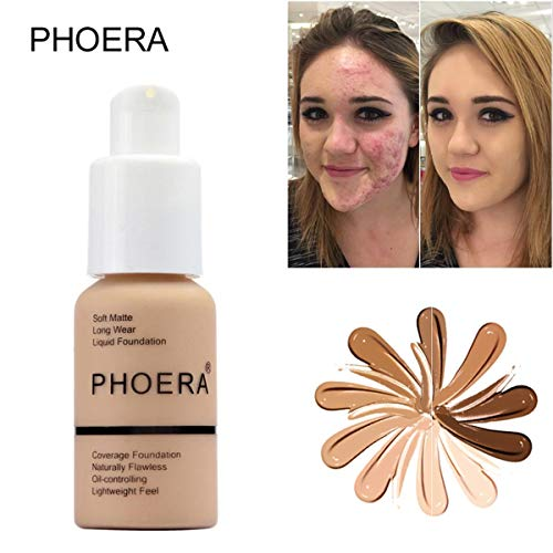 GARYOB Liquid Foundation PHOERA Liquid Matte Full Coverage Foundation Oil Control Brighten long-lasting Shade 30ml (#104)