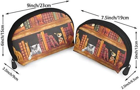 Amazon.com: Makeup Bag CATS BOOKS SHELVES Handy Shell Beauty ...