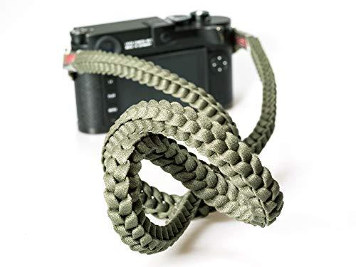 (Barton 1972 Designer Braided Muddy Green Military Camera Neck Strap Lint Free Cotton 42