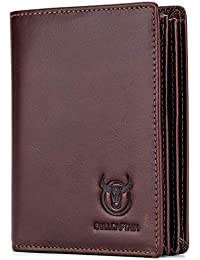 Large Capacity Genuine Leather Bifold Wallet/Credit Card Holder for Men with 15 Card Slots QB-027 (Brown)