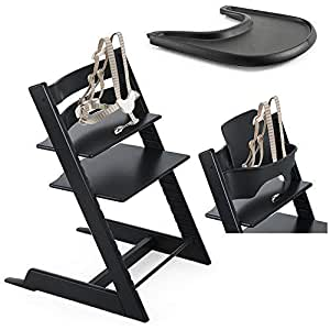 Stokke tripp trapp chair black with baby set for Stokke tripp trapp amazon