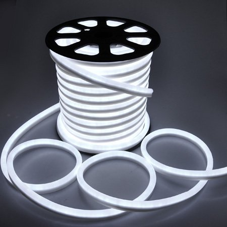 Flexible Cool White Illuminated LED Neon Rope Tube Light 150-foot 3600 Bulbs w/ Power Cord Connectors Holiday Home Bar Commercial Decorative Outdoor Lighting
