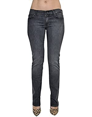 7 For All Mankind Straight Leg Studded Jeans Denim Pants Dusty Charcoal 29