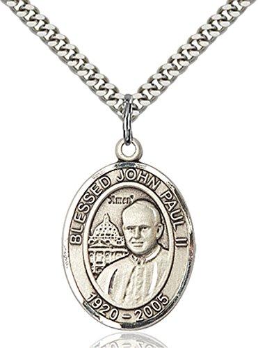 Pope John Paul Pendant Medal - Sterling Silver Pope John Paul II Medal Pendant, 1 Inch