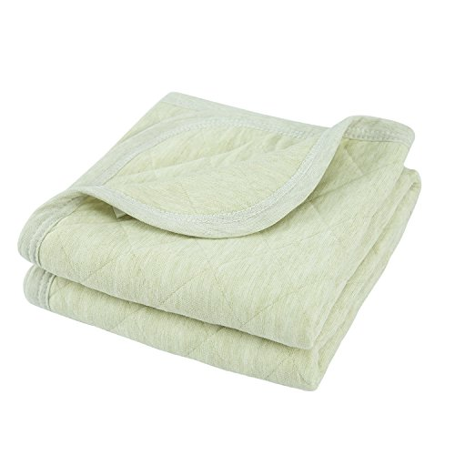 Heather Blanket (TILLYOU Allergy-Free Quilted Thermal Baby Blanket Lightweight Toddler Blanket Unisex 39x39 Large, 100% Breathable Jersey Cotton, Super Soft and Warm Crib Blanket for All Seasons - Heather Green)