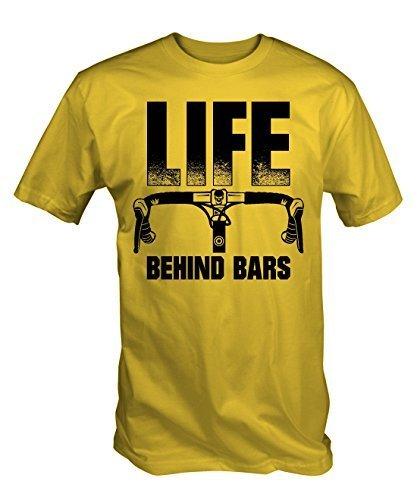 Mens Bike Life (6TN Mens Life Behind Bars Funny Cycling T Shirt (XX-Large, Yellow))