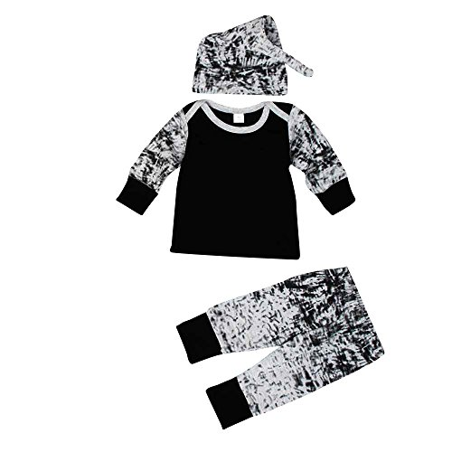 3pcs Baby Boys Outfit, Buedvo Clothes Long Sleeve Camo Print T-Shirt+Long Pants+Hat (0-6Months, (Baby Santa Outfit For Boy)