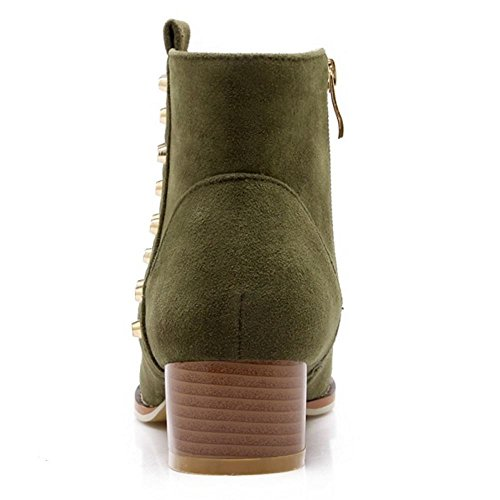 Booties Heel Zipper Boots Stylish Women Green Ankle Block 380 KemeKiss High Side wpqzt8A
