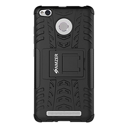 AMZER Slim Hybrid Warrior Rugged Impact Resistant Case Skin for Xiaomi Redmi 3S Prime - Black