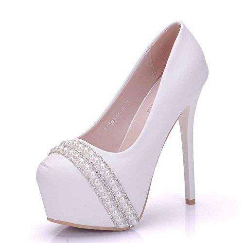 Femmes 14 CM Haute Talons Pompes Romantique Chaussures De Mariage De Mode Perle Chaussures Confort Platform Chaussures Blanc Grande Taille Blanc