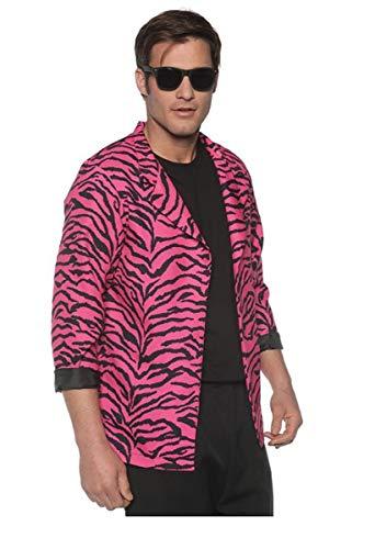 Men's 80's New Wave Costume Zebra Blazer - Pink, -