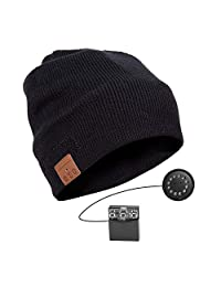 Bluetooth Beanie Hat, Jhua 4.2 Wireless Bluetooth Headphones, Knitted Music Hat Built-in Stereo Speakers Women Men Winter Running Hat for Outdoor Sports-Lining Thickening (Black)