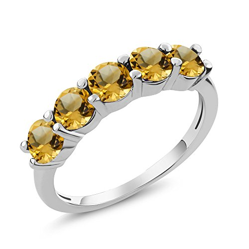 Gem Stone King 1.30 Ct Round Yellow Citrine 925 Sterling Silver 5-Stone Band Available 5,6,7,8,9