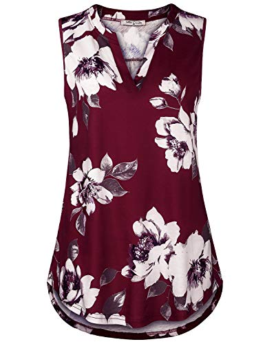 SeSe Code Tank Tops for Women,Sleeveless Floral Tunic Office Shirt Printed Summer Formal Knitted Split Vneck Blouse Rouched Hem Clothing Wine XX-Large