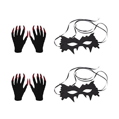 Baoblaze 2 Pairs Scary Devil Red Glitter Nail Gloves 2pcs Halloween Party Black Mask Costume Fancy Dress Accessories -