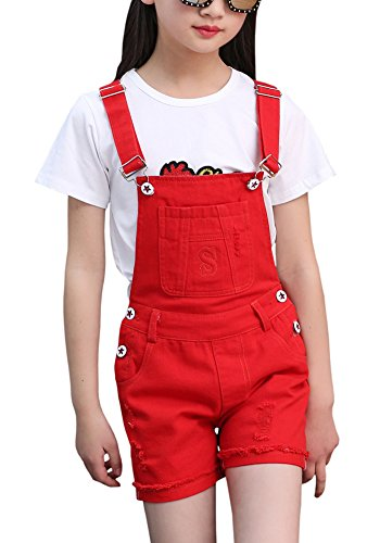 Kids Ripped Holes Denim Jeans Shorts Bib Romper Overalls Jumpsuit Shortalls for Little & Big Girls, Red 9-10 Years=Tag 160