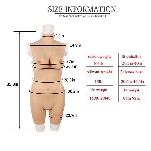 Liifun Crossdressing Silicone Body Suit Realistic D Cup Breast Forms Fake Vaginal for Crossdresser Transvestite