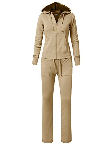 JEANS FOR LOVE Women's/Juniors Tracksuit Hoodies Velour French Terry Pants Set Sports Gym Jogging Wear Casual (L, Khaki)