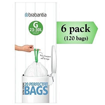 Brabantia PerfectFit G 30 Liter Bin Liners ~ 20 Ct Bags (Pack of 6) ()