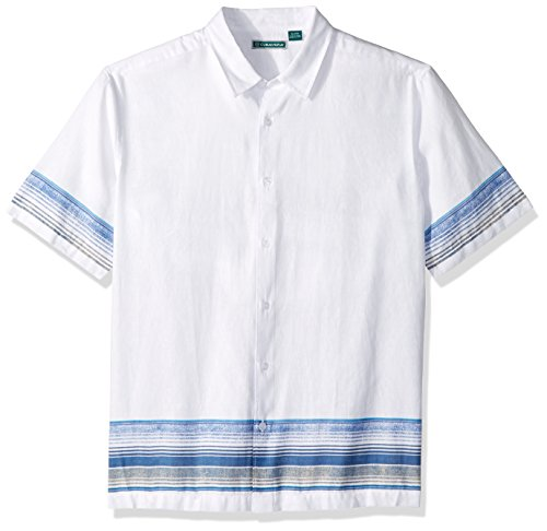 Cubavera Men's Short Sleeve Linen-Blend Conversational Print Button-Down Shirt, Bright White with Ombre, XX-Large ()
