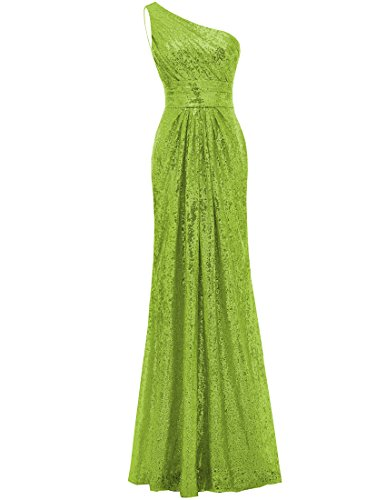 SOLOVEDRESS Women's Mermaid One Shoulder Sequined Long Bridesmaid Dresses Wedding Party Gown (US 6,Lime Green)