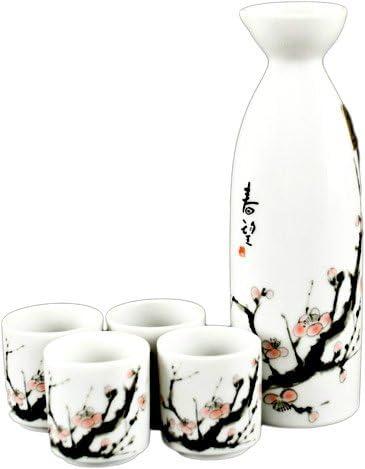 Black JapanBargain S-1699-J Porcelain Calligraphy Sake Set