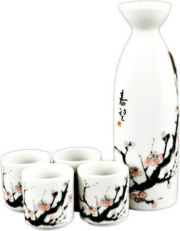 JapanBargain 3334-J Sake Set, Sakura, White