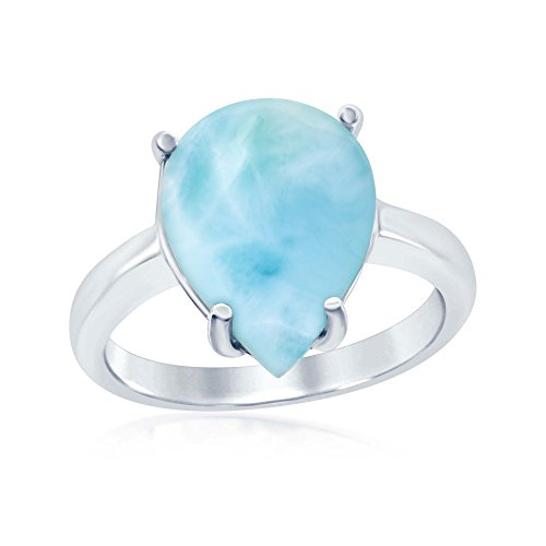 Beaux Bijoux Sterling Silver High Polish Natural Larimar Four-Prong Teardrop Ring