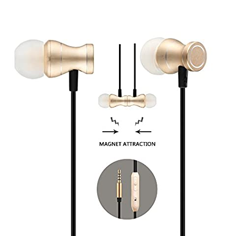 Headphones In-Ear Earbuds Earphones, Acode 3.5mm Metal Housing Magnetic Best Wired Bass Stereo Headset Built-in Mic/Hands-free/Volume Control+Carrying Case+3 Pair EarBuds (S/M/L) (Gold)