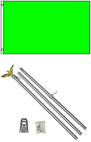 3x5 Solid NEON GREEN Color Business Flag w/ 6' Aluminum Pole