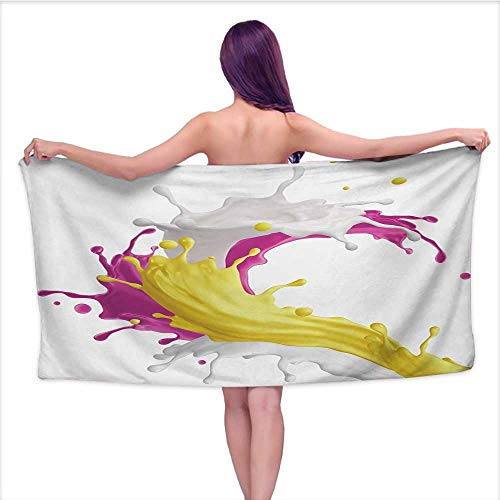 Glifporia Custom Bath Towel Colorful,Mixed Fruit Drink Splash Photo Strawberry Banana Milk Sweet Fountain,Pink Yellow and White,W31 xL63 for Men red ()