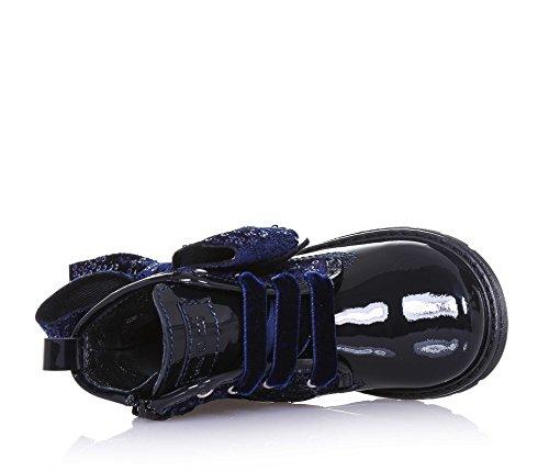 MISS GRANT - Botte bleue à lacets en vernis et tissu, avec fermeture éclair latérale, application de paillettes, lacets en velours, application d'une fleur latérale, Fille, Filles