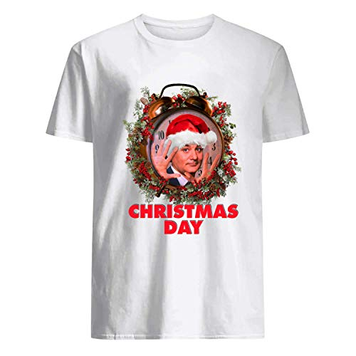 USA 80s TEE Christmas Day Clock Shirt White -