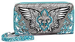 Wing Fleur - Western Fleur de Lis Wings Double Zip Around Wallet Small Pouch Coin Purse (Turquoise)