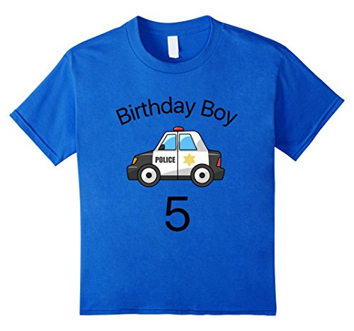 Kids Birthday Boy Police Theme Party 5 Years Old Kid T-Shirt 6 Royal Blue