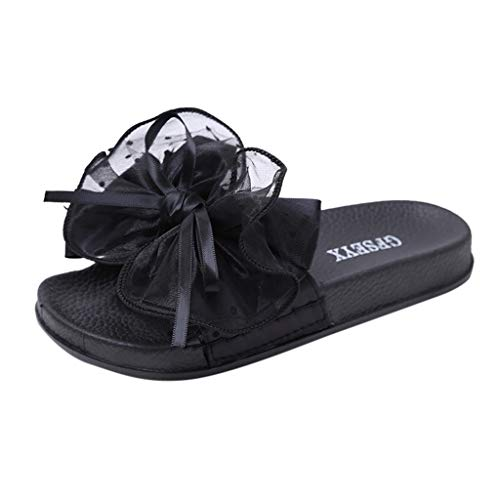 Ladies Bow Knot Non-Slip Shower Sandals,FAPIZI Home Soft Foams Sole Pool Slippers Bathroom Slide Water Shoes Black