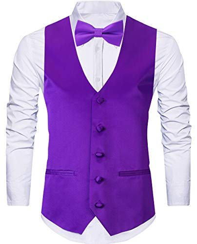 WANNEW 4pc Mens Tuxedo Vest Suit Vest Paisley Vest Set, with Bow Tie, Neck Tie & Pocket Hanky (Medium, Purple) ()